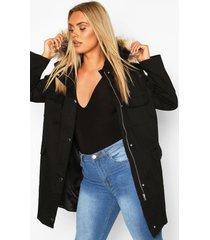 plus parka jas met zak detail en faux fur capuchon, zwart