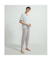 pijama blusa manga curta e calça xadrez em viscolycra | lov | cinza | g