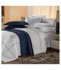 jogo de cama solteiro plumasul premium harmonious 3 pçs bordado azul