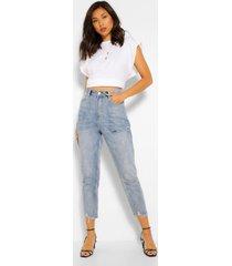 skinny jeans met gerafelde zoom, middenblauw