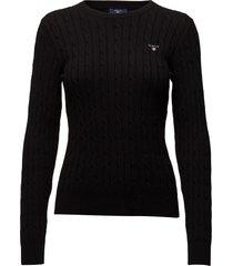 stretch cotton cable c-neck stickad tröja svart gant