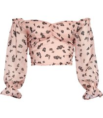 women's leith floral print off the shoulder crop top, size x-small - pink