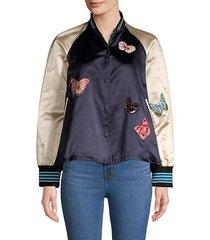 butterfly appliqué baseball jacket
