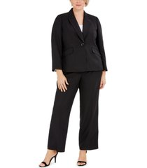 le suit plus size one-button notched-collar jacket and pant suit