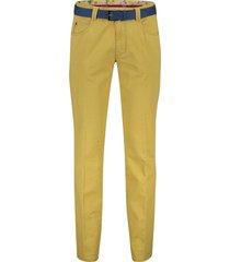 pantalon meyer diego donkergeel riem 5-pocket