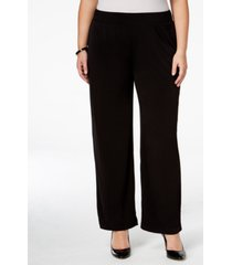 ny collection plus size pull-on wide-leg pants