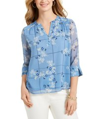 charter club petite printed sheer-sleeve top, created for macy's