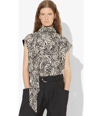 proenza schouler zebra print short sleeve scarf top vanilla/black animal/white 2