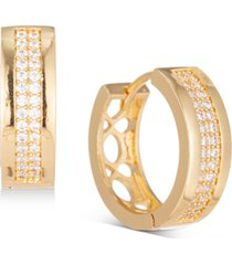 """charter club gold-tone pave wide small hoop earrings, .65"""", created for macy's"""