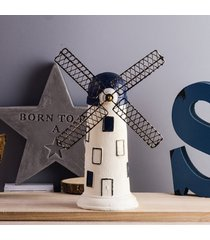 molino de viento holandés retro adornos artesanales de resina salón tv