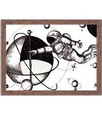 quadro decorativo astronauta madeira - médio
