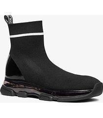 mk sock sneaker kendra in maglia stretch - nero/bianco (nero) - michael kors