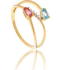 anel de ouro 18k aro vazado com diamante ,topázio swiss e turmalina rosa