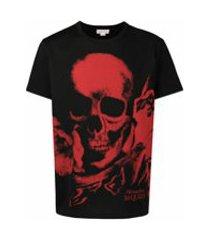 alexander mcqueen camiseta com estampa de logo e caveira - preto