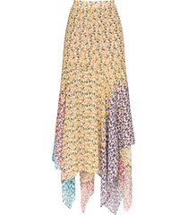 all things mochi elisa asymmetric floral-print skirt - white