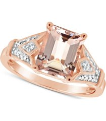 morganite (2 ct. t.w.) and diamond (1/10 ct. t.w.) ring in 14k rose gold-plated sterling silver