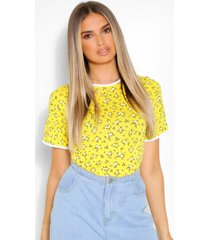 contrast ditsy floral ringer t-shirt, yellow