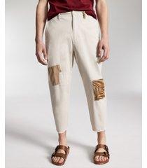 sun + stone men's mott regular-fit stretch patchwork cropped chino pants