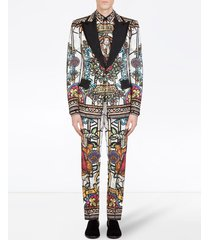 dolce & gabbana stained-glass print single-breasted blazer - white