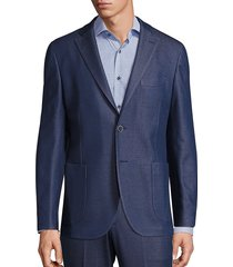 saks fifth avenue men's collection knit jacket - navy - size 38 r