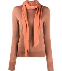 victoria beckham scarf detail wool jumper - orange