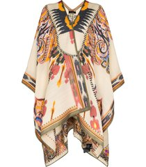etro patterned knit poncho - brown