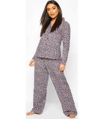 brushed leopard button through pyjama set, grey