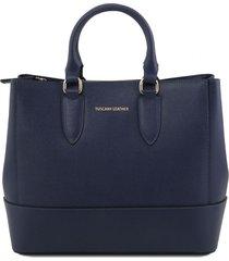 tuscany leather tl141638 tl bag - borsa a mano in pelle saffiano blu scuro