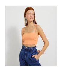 blusa cropped com decote reto e alças finas | blue steel | azul | p