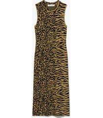 proenza schouler white label animal jacquard sleeveless dress fatigue/black/green m