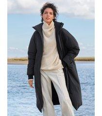 lange jas organic-cotton staande kraag van langerchen zwart