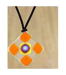 art glass pendant necklace, 'tangerine treat' (thailand)