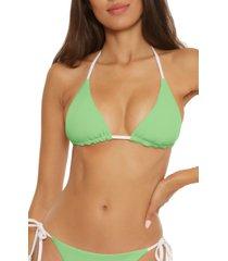 women's becca fine line reversible triangle bikini top, size large - green