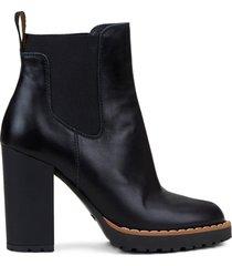 hogan leather bootie black