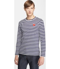 men's comme des garcons play slim fit stripe t-shirt, size x-large - blue