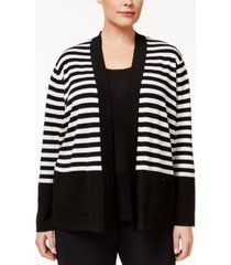 anne klein plus size striped open cardigan