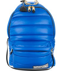 moschino hood detailed padded backpack - blue
