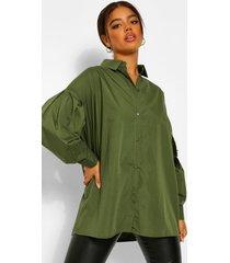geweven oversized blouse, khaki