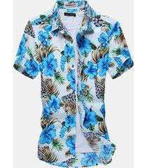 plus formato mens summer floral modello stampa turndown collar camicie da spiaggia in cotone a maniche corte