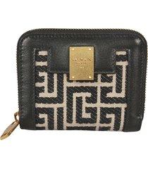 balmain signature logo zip-around wallet