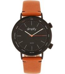 simplify quartz the 3300 black dial, genuine orange leather watch 43mm