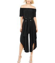 msk off-the-shoulder belted jumpsuit