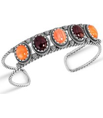 american west by carolyn pollack orange purple spiny oyster cuff bracelet in sterling silver