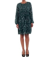 jurk vero moda 10198236 vmdivia dot ls short dress fd green gables/silver dot