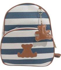 mochila maternidade m alinhado baby listrado azul marinho urso