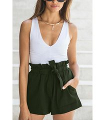 army green pleated waist shorts with waist tie