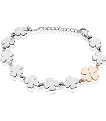 bracciale in acciaio bicolore e strass con charm quadrifoglio per donna