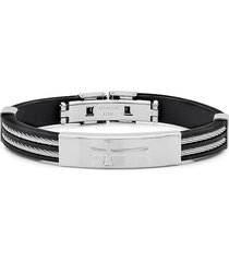 anthony jacobs men's stainless steel cross cable wire bracelet