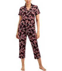 charter club short sleeve top & capri pants pajama set, created for macy's