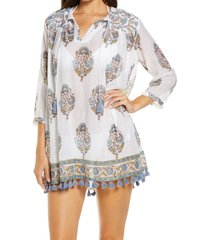 women's roller rabbit sanu floral cover-up cotton tunic, size xx-small - white
